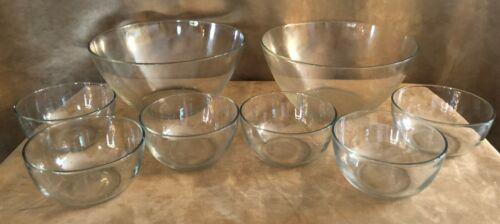 Arcoroc France Clear Glass serving & salad bowl lot 8 vintage dishes Classique