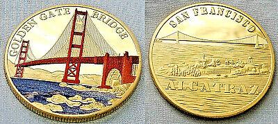 Golden Gate Bridge Gold Coin San Francisco Alcatraz Jail House Fields Park USA