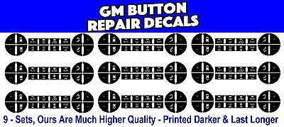 Gm Chevrolet Ac Climate Control Button Repair Decal Stickers 9   Sets