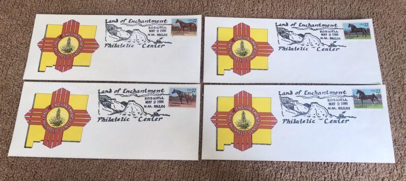 4 different 22 cent Horse STAMPS & Envelopes Roswell N.M. Philatelic Center 1986