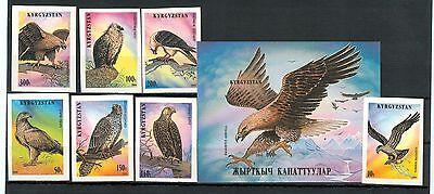 RAPACI - BIRDS OF PREY KYRGYZSTAN 1995 set+block B