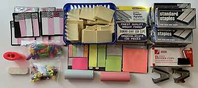Large Assorted Office Supplies Lot Post-its Staples Pins Clips Erasers Tabs