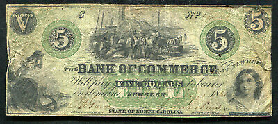 1861  5 Five Dollars The Bank Of Commerce Newbern  Nc Obsolete Banknote