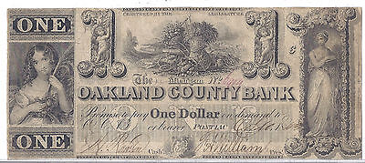 1843 Us Obsolete Currency   Oakland County Bank  Pontiac  Michigan    1