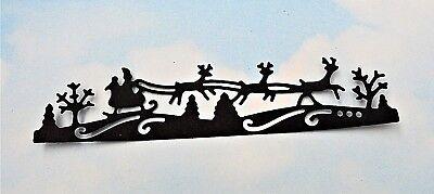 Die Cut Christmas Santa, Sleigh and deer x 6 black silhouette