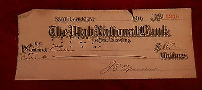 1903 Slc Utah State National Bank Check No 1246 22Nd Ward Co Op Lds Mormon