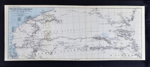 1877 Petermann Map Elder & Giles Expedition Inner Australia Outback Amadeus Lake