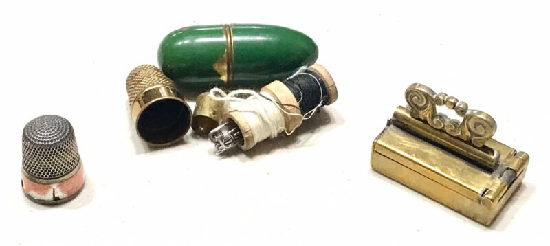 Antique Vintage Sewing Group Sterling Silver Enameled Thimble Needle Holder Old