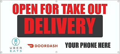 Open For Take Out Delivery 13oz Printed Banner Fast Delivery