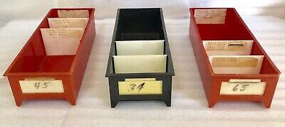 Lot Of 12 Red Plastic Parts Inventory Storage Trays Bins 5 W X 12 L X 3-14 H