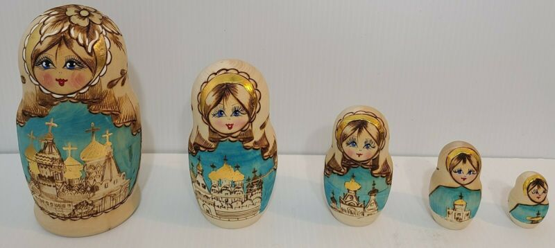 Set 5 Russian Made WOODEN NESTING DOLLS Wood Stacking  Figurines