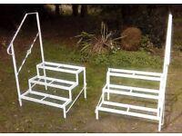 Metal steps for caravan/garden/display-custom made-removable decorative twist hand rails-2 sets.