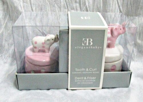 Elegant Baby First Curl First Tooth Ceramic Elephant Keepsake Boxes NEW