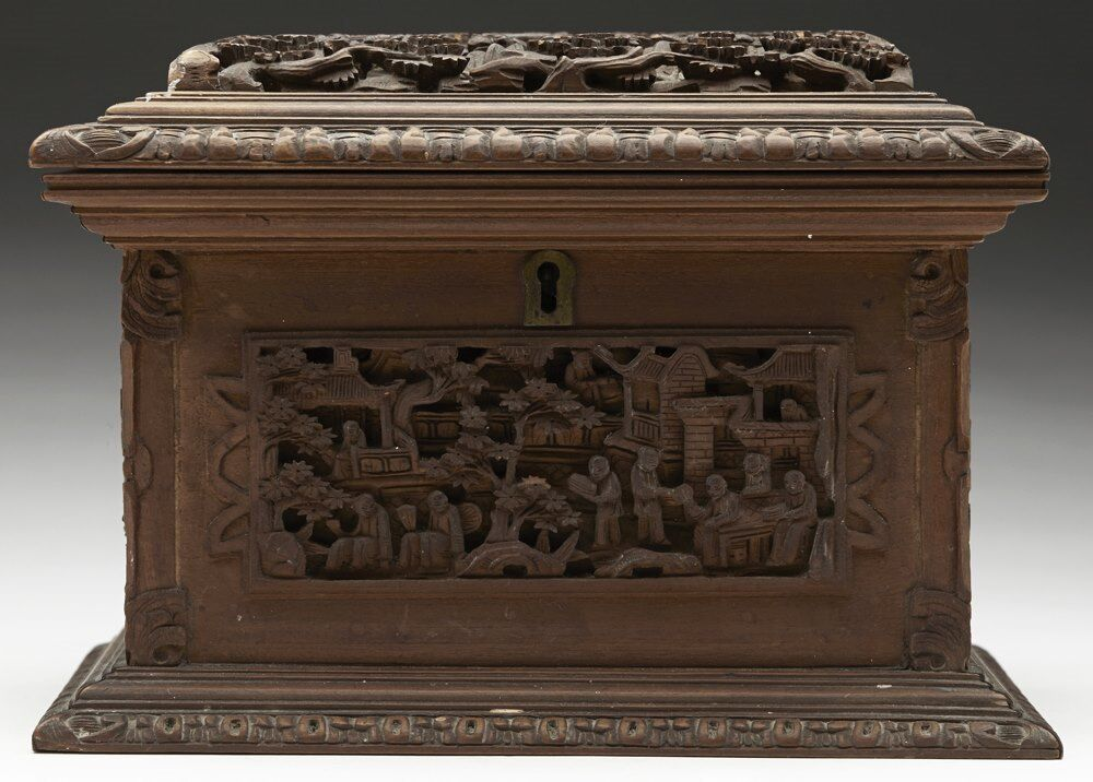 Antique chinese canton carved wooden jewellery box 19th c for Asian antiques uk