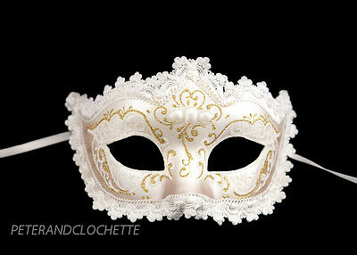Mask from Venice Colombine a Tip Rhinestone and Lace White Golden 922 V44