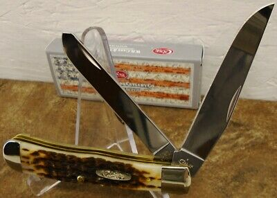 NEW Case XX Peach Seed Jigged Amber Bone Trapper Pocketknife #06540 USA Amber Peach Seed Jigged Bone