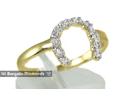 Diamond 10kt Yellow Gold Womens Two-tone Lucky Horseshoe Ring (10kt Two Tone Diamond Ring)
