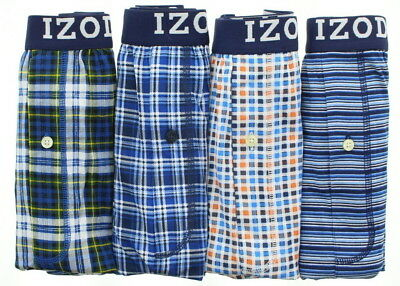 IZOD Mens Button Fly Cotton Tag Free Boxer Shorts Underwear, 4 (Button Fly Boxer Shorts)