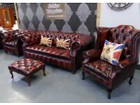 NEW Chesterfield Suite 3 Seater Sofa Wing Back Club Chair Footstool Oxblood Leather Delivery