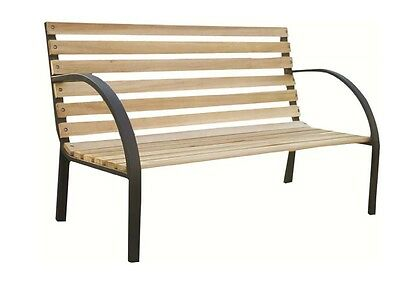 TEAL HARDWOOD SLATS WITH STEEL FRAME WOODEN GARDEN BENCH SUITABLE FOR 2 PERSON