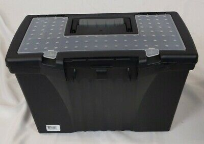 Storex Portable File Storage Box Black 1 Carton Quantity Home Office Organizer