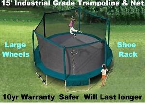 Trampoline 15' With Safety Enclosure Industrial Grade