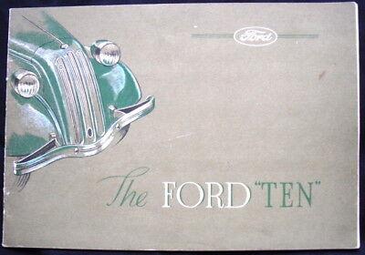 """FORD """"TEN"""" 2&4 DOOR SALOON & TOURER SALES BROCHURE MAR 1938 #U.2625/338"""