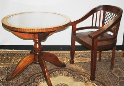 Crafted Wire Back Solid Mahogany ArmChair with Matching Coffee Table Set F/DLVRY