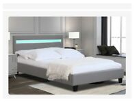 Grey LED bed frame, size double, new and still in box