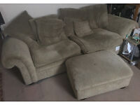 Large sofa + pouf / foot stand with original fire resistance labels