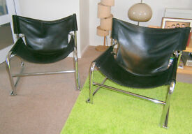 Vintage Pair of Robert Kinsman T1 Leather Sling Chairs - Habitat 60s - Mid Century