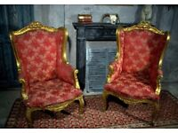 Antique French Wingback Chair Gilt Woodwork