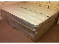 Brand New 4ft6 Double/4ft Small Double Divan Bed Base with Semi Orthopaedic Mattress, Headboard avai