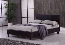 Free Delivery === Modern Faux Leather Bed Frame Black Brown 4ft6 Double 5ft King Size
