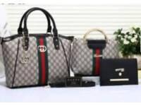 ladies 3 piece grey and black bag