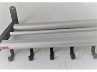 VanGsch sturdy 10 hook coat rack/shelf aluminium/black 1000x340mm