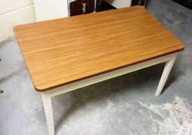 Retro Vintage 1970s Formica topped coffee table 92cm x 54cm with white legs