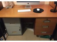 Large Strong (Timber) Desk (Office) Three Draws Good Condition