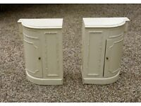 A lovely pair of Victorian painted wood bedside tables or cupboards. Attractive curved frontages.