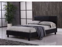 """Wow Offer -- Double Leather Bed + 9"""" Deep Quilt Mattress -- Same Day Fast Delivery -- Brand New"""