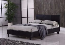 - FREE Fast Delivery - DOUBLE OR SMALL Double Leather Bed & Memory Foam Mattress SINGLE/KINGSIZE
