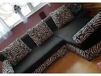Zebra print pull out sofa bed
