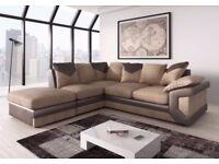 BRAND NEW DINO 3 SEATER+2 SEATER OR CORNER FABRIC SOFA SUITE IN BLACK GREY OR BROWN CREAM