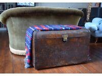Antique,steamer trunk,metal chest,trunk,antique trunk,blanket box,vintage trunk