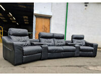 DFS Dynamo black leather cinema motorized recliner sofa DELIVERY AVAILABLE
