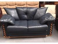 ** BLUE LEATHER SETTEE FOR SALE **