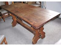 """""""Antique"""" Oak Refectory Table Seating 6 to 8 People"""
