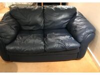 2 seat leather sofa - navy
