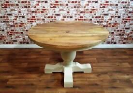 Large Farmhouse Round Table Chunky Hardwood