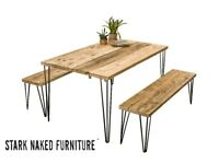 Kitchen Dining Table and Two Benches Hairpin Legs Reclaimed Wood Rustic Industrial